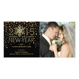 Holiday Happy New Year Snowflake Confetti Glitter Personalized Photo Card
