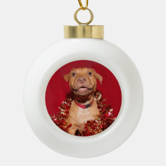 Holiday Happy pitbull puppy Ceramic Ball Christmas Ornament