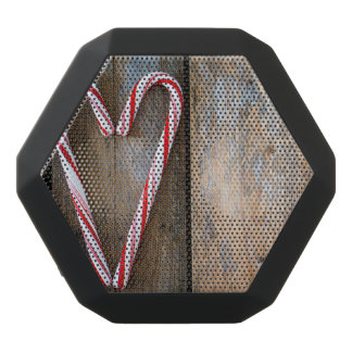 Holiday Heart Candy Canes on Rustic Wood Black Bluetooth Speaker