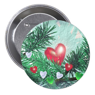 Holiday Hearts and Pine 7.5 Cm Round Badge