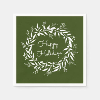 Holiday Holidays Green Laurel Wreath and Berries Paper Serviettes