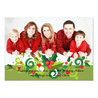 Holiday Holly and Love Photo Card 13 Cm X 18 Cm Invitation Card