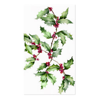 Holiday Holly Berries Tag Business Card