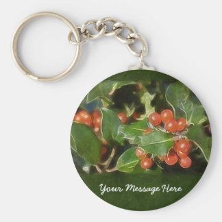 Holiday Holly  Customized Christmas Greeting Basic Round Button Key Ring