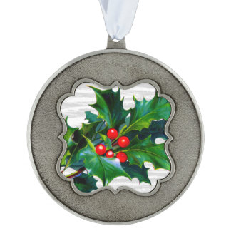 Holiday Holly Greens Red Berries Christmas Tree Scalloped Pewter Ornament