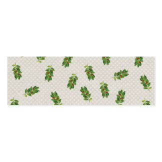 Holiday Holly Pattern Double-Sided Mini Business Cards (Pack Of 20)