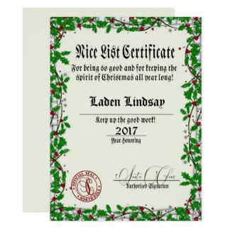 Holiday Holly Santa's Nice List Card