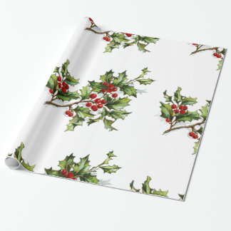 "Holiday Holly Wrapping Paper, 30"" x 6' Wrapping Paper"