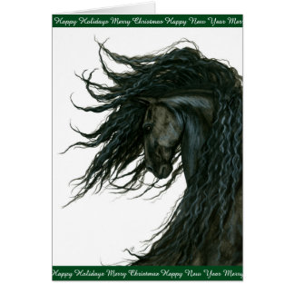 Holiday Horse Greetings Friesian by Bihrle Card