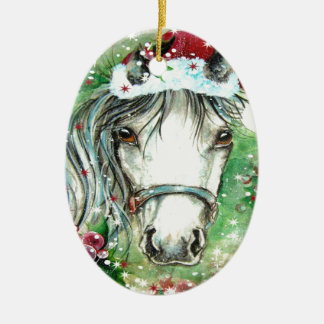 Holiday Horse Oval  Ornament for Rachel