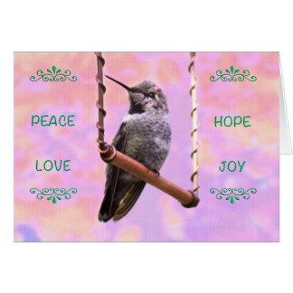 Holiday Hummingbird on a Swing Card