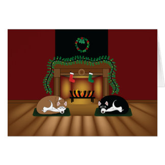 Holiday Huskies Sleeping by the Fireplace Card