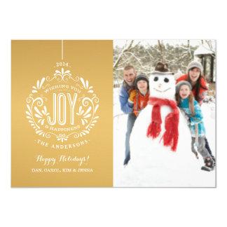 HOLIDAY JOY CHALK ART ORNAMENT PHOTO CARD GOLD 11 CM X 16 CM INVITATION CARD