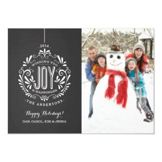 HOLIDAY JOY CHALKBOARD ORNAMENT PHOTO CARD 11 CM X 16 CM INVITATION CARD