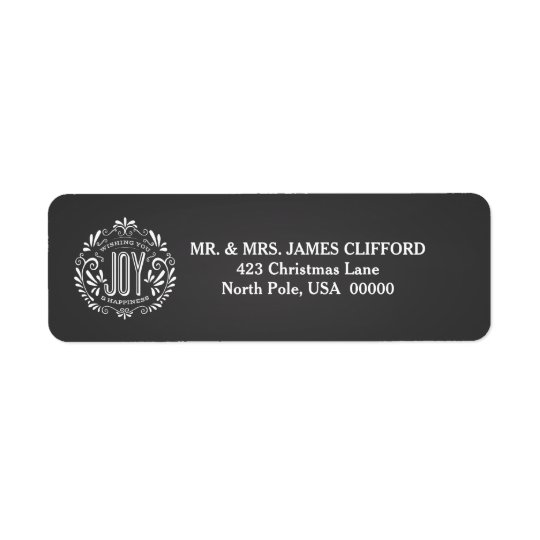 HOLIDAY JOY CHALKBOARD RETURN ADDRESS LABELS