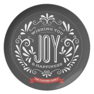 HOLIDAY JOY CHALKBOARD STYLE PLATE