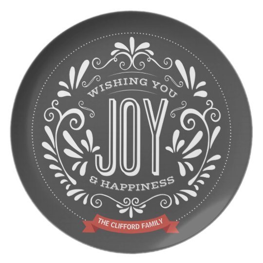 HOLIDAY JOY CHALKBOARD STYLE PLATE
