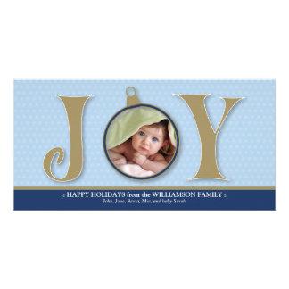 Holiday Joy Custom Family Photocard (blue) Photo Card