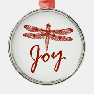 Holiday Joy Dragonfly Metal Ornament