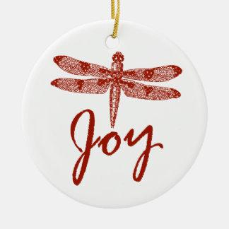 Holiday Joy Dragonfly Round Ceramic Decoration