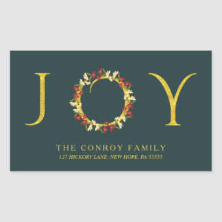 Holiday Joy Elegant Floral Wreath Return Address Rectangular Sticker