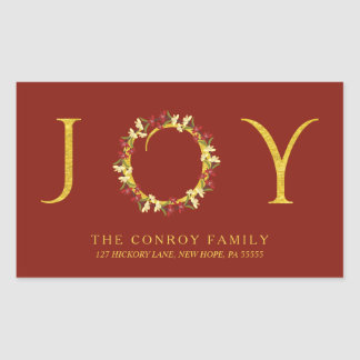 Holiday Joy Floral Wreath Elegant Return Address Rectangular Sticker