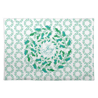 Holiday Joy in a Holly Leaf Wreath in Green Placemat