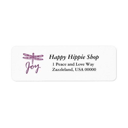 Holiday Joy Purple Dragonfly Return Address Label