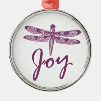 Holiday Joy Purple Dragonfly Silver-Colored Round Decoration
