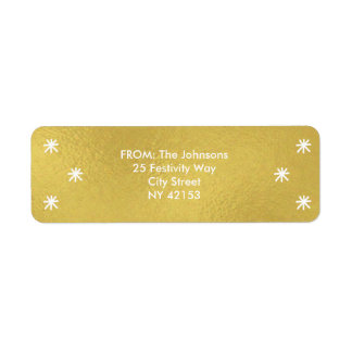 Holiday Joy Return Address Labels - Gold