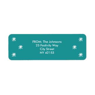 Holiday Joy Return Address Labels - Teal Green