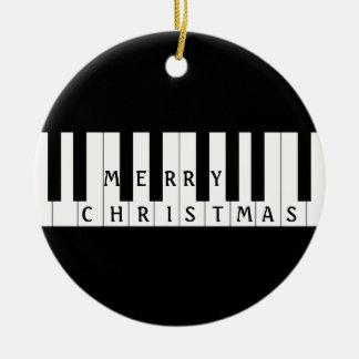 Holiday Keys Piano Round Ceramic Decoration