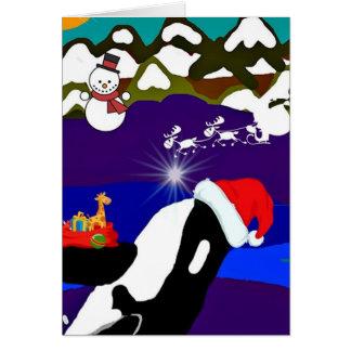 Holiday Killer Whale Santa Greeting Card