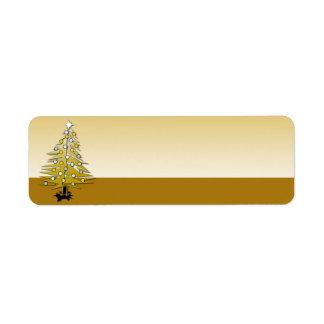 Holiday Label Gold Christmas Tree Return Address Label