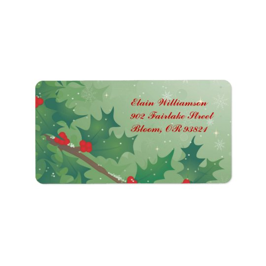 Holiday Leaves Address Label