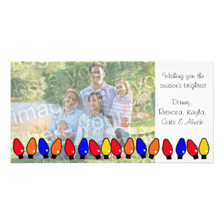 Holiday Lights Family Greeting Card Personalized Photo Card