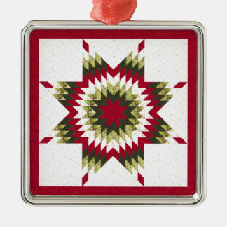 Holiday Lone Star Quilt Design Metal Ornament