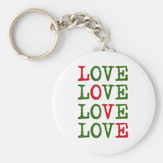 Holiday Love Basic Round Button Key Ring