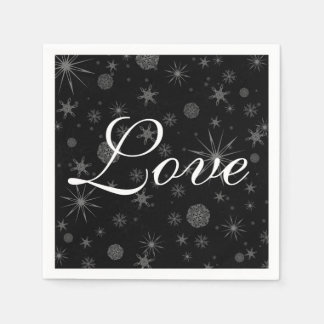 Holiday Love Black White Snowflakes Winter Wedding Paper Napkins