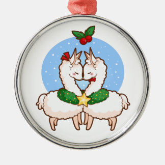 Holiday Love Llamas Metal Ornament