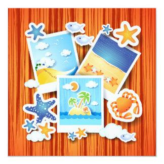 """Holiday memories, invitation 5.25"""" square invitation card"""