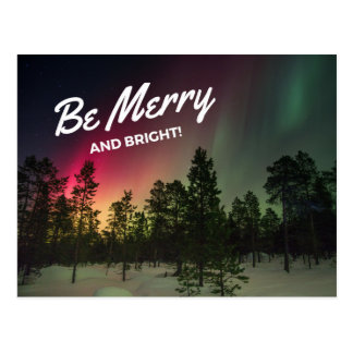 Holiday Merry & Bright Northern Lights Postcard