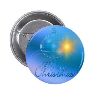 Holiday Merry Christmas Blue Ornament Light Pinback Buttons