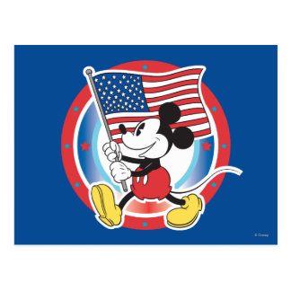 Holiday Mickey | Flag with Circle Postcard