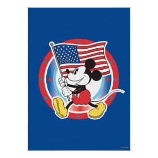 Holiday Mickey   Flag with Circle Poster