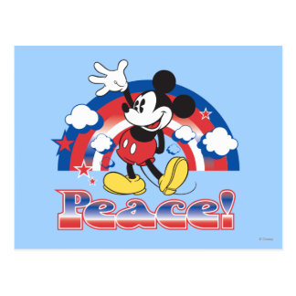 Holiday Mickey   Patriotic Peace Rainbow Postcard