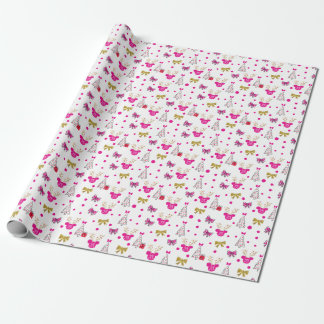 Holiday Minnie Pattern with Gold Bows & Antlers Wrapping Paper