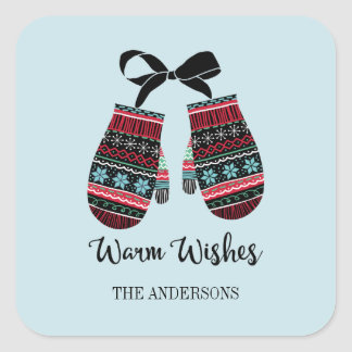 Holiday Mittens Warm Wishes Christmas Sticker