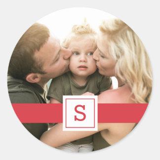Holiday Monogram Photo Sticker