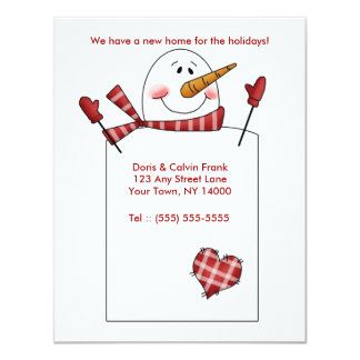 HOLIDAY MOVING CARD Change of Address Snowman